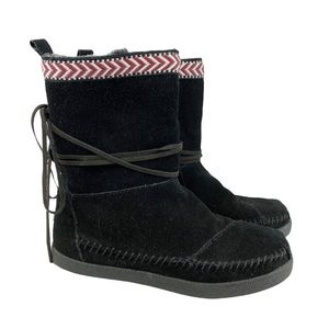 Toms Nepal Black Leather Suede Booties